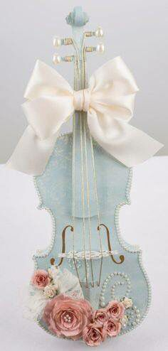 Violin painted light blue with white bow & pink roses