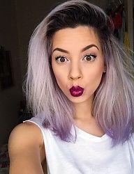 Fryzury Kolorowe włosy: Fryzury Średnie Na co dzień Proste Rozpuszczone Kolorowe - ombre - 2630422