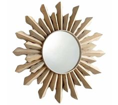 Large White Washed Wood Sunburst Wall Mirror - The Sol Mirror from Cyan Design is as radiant as the sun itself. The round frame surrounds the mirror with spectacular design features the contemporary sunburst design. Create a dazzling style with this brilliant reflective sunburst.