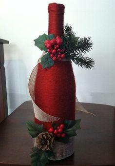 enfeites de natal garrafa vermelha