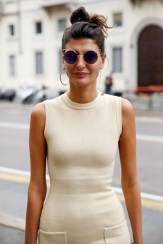 Designer Giovanna Battaglia is seen during the Milan Fashion Week  Spring/Summer 16 on September 27, 2015 in Milan, Italy.