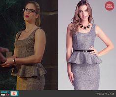 Felicity's grey tweed peplum dress on Arrow.  Outfit Details: http://wornontv.net/42084/ #Arrow