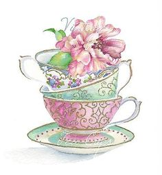 watercolor painting with tea cups - Google Search