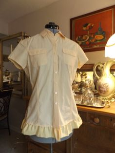 Soft Yellow Short Sleeve Button Front Ruffled by MissPoppysFancy