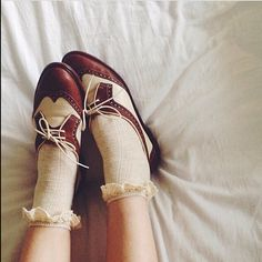 Vintage shoes and frill socks.