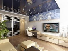 Perfect Design Ideas for Small Apartments : Surprising Interior Decorating Pictures For Apartments With Living Room Design Ideas For Smart Decorations Also Flat Screen Tv And Computer Unit On Desk With Task Chair Indoor Plants
