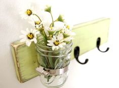 Vase WOOD Key Hooks Organizer  Spring Green by OldNewAgain on Etsy, $32.00