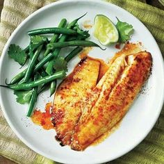 Tilapia and green beans.  Quick low carb dinner.