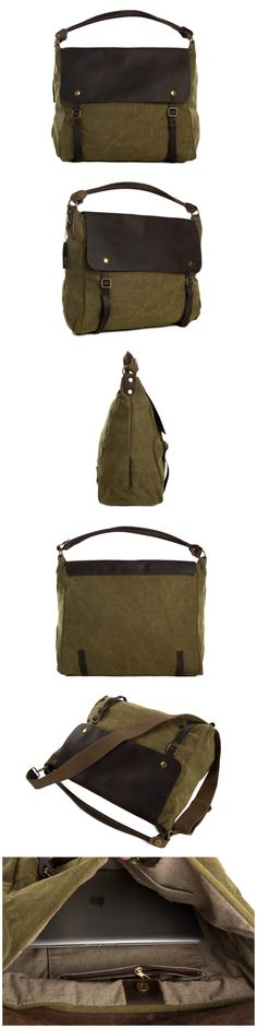 Canvas Leather Tote Bag, Waxed Canvas Briefcase Messenger Bag