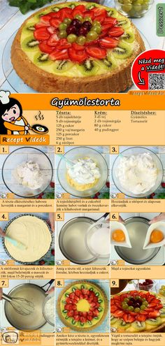 Obsttorte You are not a fan of heavy cream cake? Easy Baking Recipes, Cake Recipes, Dessert Recipes, Cooking Recipes, Eastern European Recipes, Healthy Snacks, Healthy Recipes, Hungarian Recipes, Food Videos