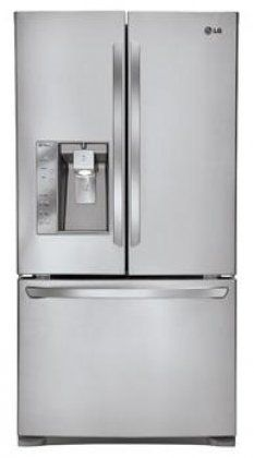 LG LFX25991ST 24.6 Cu. Ft. Stainless Steel Counter Depth French Door Refrigerator - Energy Star Generous 25 cu.ft. capacity. Sleek counter-depth design. Smart Cooling System keeps temperature and humidity right where it's best for your food. Fresh Air Filter helps keep the air around your food from getting stale. Smart Pull Handle and 3-Tier Organization Freezer.  #LG #MajorAppliances