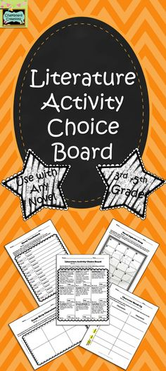 FREE This ready-made literature choice board is ideal for use with any novel used in the grade classroom. It includes 9 activities that students can complete. Great for early finishers, independent work, centers, or homework. Reading Centers, Reading Groups, Reading Workshop, Reading Activities, Reading Skills, Teaching Reading, Classroom Activities, Literacy Centers, Guided Reading