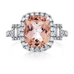 Morganite Diamond Engagement Ring 18kt White Gold Peach Pink Morganite... ($1,580) ❤ liked on Polyvore featuring jewelry, rings, three stone engagement ring, pink diamond ring, diamond wedding rings, pink engagement rings and diamond band ring