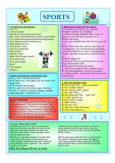 Sports - English ESL Worksheets for distance learning and physical classrooms Sport English, English Class, English Lessons, Learn English, Hobbies For Women, Hobbies That Make Money, English Language Learning, Teaching English, Worksheets