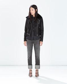 Zara faux leather jacket with fur trim