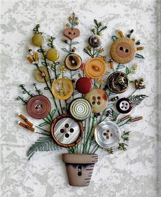 Flower-Button-Art-Card-for-Mothers-Day Kreative Weihnachtskarten Basteln - DIYDE. Crafts To Make, Crafts For Kids, Arts And Crafts, Paper Crafts, Diy Crafts, Button Bouquet, Button Flowers, Diy Buttons, Vintage Buttons