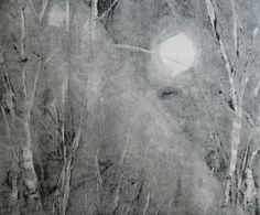 Original Moonlight Shadow Winter Landscape Monotype Silver Greys White OOAK Abstract Fine Art  Print by Zinnia Gallery by ZinniaGallery on Etsy
