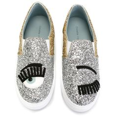 Chiara Ferragni Flirting Glitter Slip-on Sneakers ($220) ❤ liked on Polyvore featuring shoes, sneakers, pull on shoes, leather slip-on shoes, real leather shoes, slip on sneakers and slip on trainers