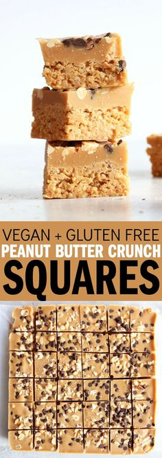 These vegan + gluten free peanut butter crunch squares are so easy to make and will be your new favorite healthy snack!! #snack #vegan #glutenfree #dairyfree #grainfree #dessert #peanutbutter