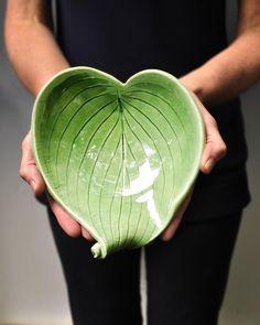 "Hosta Leaf bowl hand built ceramic bowl  8"" L X 8"" W. 3"" H 34$"