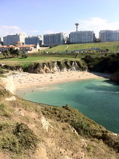 Playa de las Lapas. Beautiful city beach. A Coruña. Spain