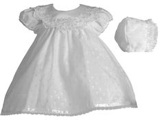 Lauren Madison Baby-Girls Newborn Christening Baptism Special Occasion Cotton Cross Embroidered Dress Gown Outfit with Bridal Satin Collar, ...