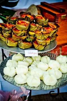 Filipino desserts next to the cake.