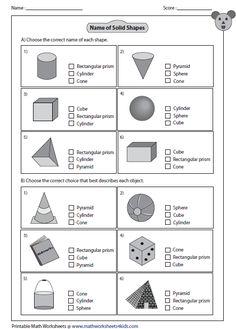 Worksheets Recognizing 3 D Shapes Part 3 3d Shapes Worksheets, Shapes Worksheet Kindergarten, Geometry Worksheets, 2nd Grade Math Worksheets, Free Worksheets, Solid Shapes, Free Shapes, Plane Shapes, Solid Geometry