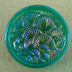 "Aurora iridescent translucent jade/turquoise green ""thousand fans"" molded Asian design vintage glass button."