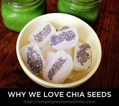 6 Reasons Why We Love Chia Seeds - Simple Green Smoothies . Freeze coconut water or almond milk or soy milk and add chia seeds . Perfect for smoothies Healthy Smoothies, Healthy Drinks, Smoothie Recipes, Healthy Snacks, Healthy Eating, Green Smoothies, Healthy Sides, Raw Food Recipes, Healthy Recipes