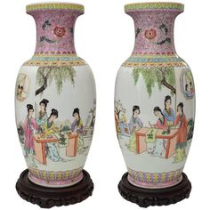 Offered is this pair of Chinese famille rose enameled porcelain vases each of ovoid form and featuring a scene of beauties and floral designs, reserved on a pink ground with an inscription to the body and seal mark to the base. Oriental Furniture, Art Furniture, Traditional Vases, Buddha Figures, Modern Ceramics, Ceramics Ideas, Ceramic Elephant, Buddha Sculpture, Chinese Patterns