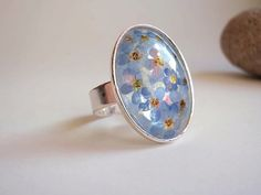 Forget-me-not eco resin oval adjustable ring with by ZazieWorld