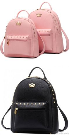 190d317a7 Which color do you want? Leisure Lady Rucksack Punk Crown Rivet PU School  Backpack #