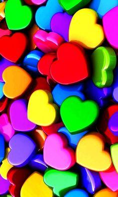 Rainbow plastic hearts color  (¯`'•.¸de l'arc-en-ciel¸.•'´¯)