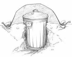 Cutaway drawing of a Garbage Can Root Cellar - buried in the ground; covered with straw and a plastic sheet
