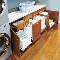 Conquer Laundry Chaos    Say good-bye to heaps of lights and darks strewn on the floor. Armstrong cabinets' new LaundryCenter option offers sorting bins, hanger inserts, and other organizers to keep pre- and post-wash piles tucked away.     About $95 to $200 each; Armstrong