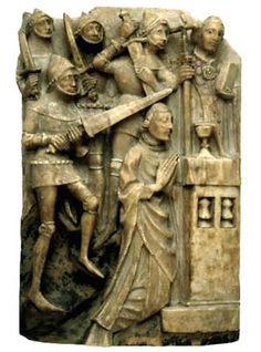 13 CENTURY ALABASTER PANEL REPRESENTING THE MARTYRDOM OF ST. THOMAS BECKET