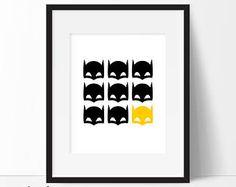 Batman Mask Print, Batman Printable, Batman Art, Nursery Decor, Superhero Wall Art, Boys Room Decor, Superhero Art, Instant Download