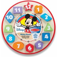 Melissa & Doug Disney Mickey Mouse Wooden Shape Sorting Clock - Walmart.com