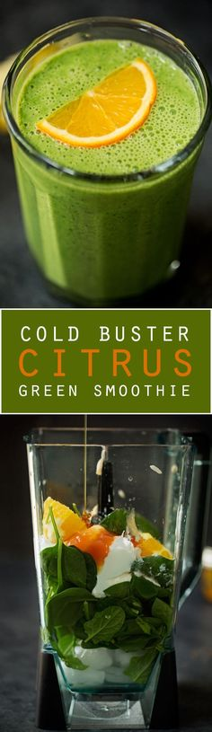 Cold-Buster Citrus Green Smoothie - Loaded with lots of cold fighting ingredients to get you back up on your feet in no time!Cold-Buster Citrus Green Smoothie - Loaded with lots of cold fighting ingredients to get you back up on your feet in no time! Healthy Green Smoothies, Green Smoothie Recipes, Healthy Drinks, Healthy Snacks, Healthy Eating, Healthy Recipes, Breakfast Smoothies, Salad Recipes, Smoothie Legume