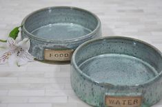 """2 Sets of 6""""x2"""" Pet Bowls with GONZO and MAYHEM, Custom Order for Christina by ShawnaPiercePottery on Etsy"""