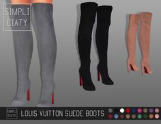 "Louis Vuitton Suede BootsA few people suggested to recolor this @madlensims mesh and make it suede, so here it is! Hope you guys like it! ""DOWNLOAD: [MEDIA/MEGA] (YOU NEED THIS MESH! [x]) "" If you use..."