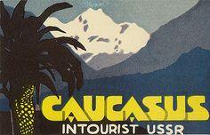 """""""Caucasus"""" - Intourist luggage label, 1930s"""