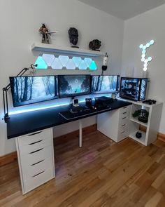 Pc Setup, Gamer Setup, Gaming Room Setup, Best Gaming Setup, Cool Gaming Setups, Gaming Rooms, Home Office Setup, Home Office Design, Small Game Rooms