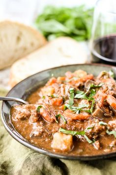 Italian Beef Stew is a deliciously slow simmered dish that's wonderful for weekend family dinners or dinner parties with friends. Beef Recipes, Soup Recipes, Dinner Recipes, Dinner Ideas, Chili Soup, Italian Beef, Original Recipe, Soups And Stews, Great Recipes