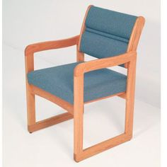 Symple Stuff Guest Chair Wood Finish: Light Oak, Fabric: Vinyl Green, Arms: Included