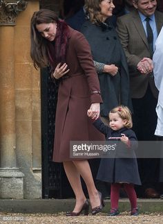 Catherine Duchess of Cambridge and Princess Charlotte of Cambridge attend Church on Christmas Day on December 25 2016 in Bucklebury Berkshire