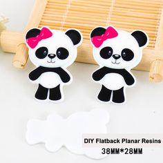 50pcs/lot Pink Bow China Panda Flatback Resins Kawaii Cartoon DIY Crafts Planar Resin for Home Decoration Accessories DL430