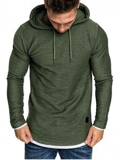Shop for ✿ 33% OFF ✿ 2018 Contract Color Pullover Hoodie in GREEN 2XL online.  Neformální Pánské ... bd52a2da159