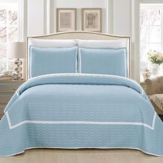 Chic Home 3 Piece Selby Hotel Collection 2 Tone Banded Quilted Geometrical Embroidered Queen Quilt Set, Blue King Quilt Sets, Queen Quilt, Urban Outfitters, Embroidered Bedding, Hotel Collection Bedding, Geometric Quilt, Shabby, Bed In A Bag, Twin Quilt